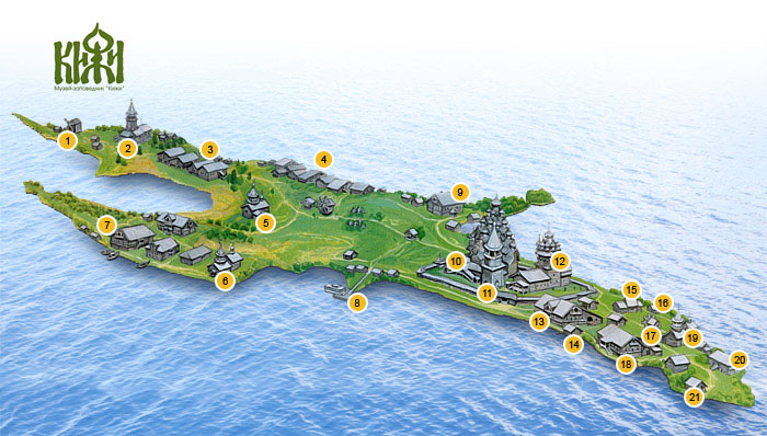 Карта острова Кижи